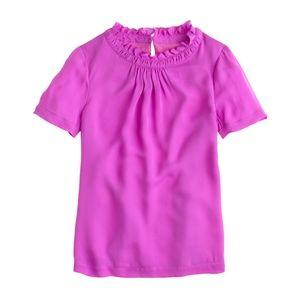 J. Crew Silk Ruffle Collar Short Sleeve Top Pink